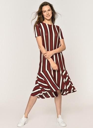 Loves You Çizgili Eteği Volanlı Elbise Bordo